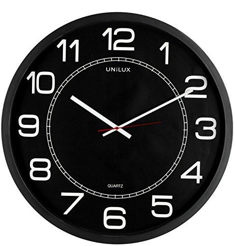 Unilux riesen Wanduhr Mega in schwarz, moderne, analoge Uhr für große Räume