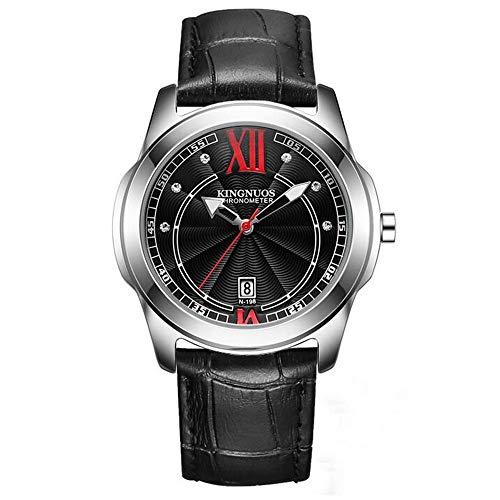 ZSDGY Reloj electrónico con Esfera de Doble círculo, Reloj de Pulsera de Acero con Tachuelas de Diamantes para Hombre B