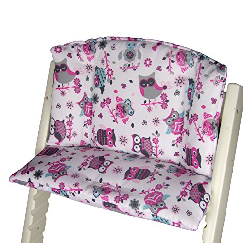 Babys-Dreams Sitzkissen Auflage Sitzkissenset für Stokke Tripp Trapp Hochstuhl (Weiß Rosa/Pinke Eulen$1) XX