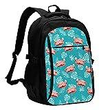 AOOEDM Mochila con USB para ordenador portátil, mochila escolar,...