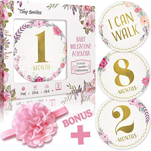 Baby Monthly Milestone Stickers (Free Headband) 20 Premium Floral Metallic Gold Stickers for First Year - 0 to 12 Month Onesie Belly Stickers - Best Baby Shower Gift or Scrapbook Photo Keepsake