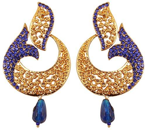 Touchstone Pendientes de araña de joyería de diseñador de zafiro azul con motivos de peces curvos de bollywood indio para mujer Azul