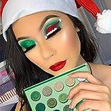 DELANCI Paleta de sombras de ojos verde aguacate 15 colores Paleta de maquillaje navideño brillante Brillo mate Brillo Sombra de ojos vegana altamente pigmentada en polvo Cosmético de larga duración