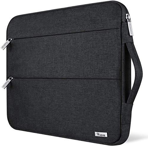 Voova Laptop Tasche 156 Zoll 15 Zoll mit Griffwasserdichte Laptoptasche 156 Zoll Hulle Sleeve fur MacBook Pro 154Surface 15Dell XPS 15Chromebook mit 2 TaschenNotebook Laptophulle Case Schwarz