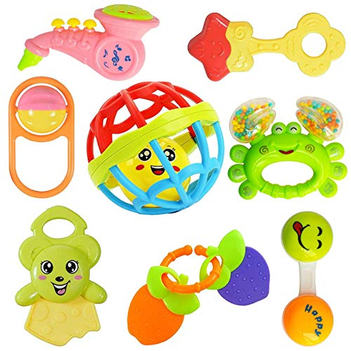 Mahadev Art Colourful Plastic Non Toxic Set of 8 Teether and Rattle for New Borns and Infants