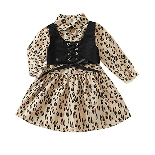 RSRZRCJ 키즈 유아 아기 소녀 가을 겨울 옷 긴 소매 셔츠 드레스 스트랩 레이스 업 CAMISOLE 조끼 재생 드레스