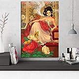 HUGF Pinturas de Lienzo Cartel Arte de la Pared Pintura de la Lona Impresión Fumar Dominante Florista Imágenes modulares para el Dormitorio Decoración del hogar