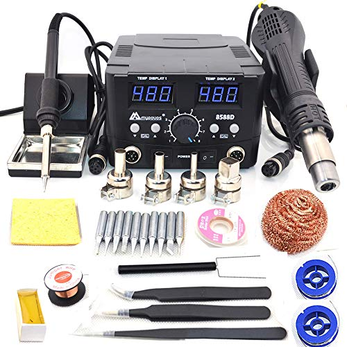 MYPOVOS 2 IN 1 800W LED Digital Soldering Station Hot Air Gun Rework Station Electric Soldering Iron For Phone PCB IC SMD BGA Welding SET 110V (8588D SET1)