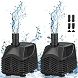 MOSFiATA Submersible Water Pump 2 Pack 1000L/H 25W Ultra-Quiet Water Pump With 8ft and 2.5M Power Cord and 4 water outlet Nozzles for Pet Fountains, Aquarium, Fish Tank, Pond, Statuary, Hydroponics