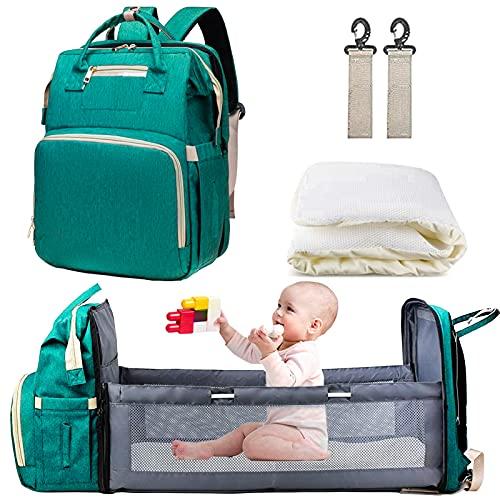 AmWile 3 in 1 zaino per pannolini, borsa fasciatoio portatile multifunzionale con culla, con fasciatoio e cinghie per passeggino, borsa da viaggio per mamma e papà.(verde)