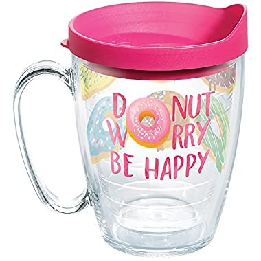 Tervis 1266565 Donut Worry Tumbler with Wrap and Fuchsia Lid 16oz Mug, Clear
