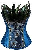 EUDOLAH Mujer Corsé de Plumas de Pavo Real Vintage Gótico Bustier con Falda(Azul,L)
