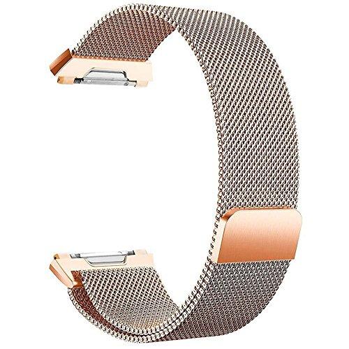 FashionAids Bracelets de Remplacement Compatible avec Bracelet Fitbit Ionic, Bande Réglable en Métal en Acier Inoxydable pour Femmes Hommes