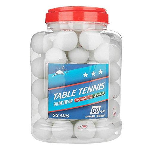 60 Stück 3-Sterne-Tischtennisball mit Box Tischtennis Training 40mm Bier Pong Bälle für Wettkampftraining Unterhaltung(Weiß)