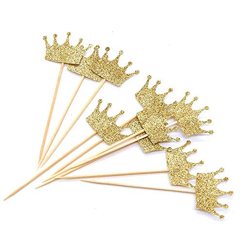 CiMi 40 Confezione di Decorazioni per Corone a Forma di Cupcake con Paillettes (Piccole) per Dessert Decorazioni per Feste da Tavola Anniversario Deco Torte 4,7 x 3,2 cm (Oro)