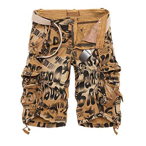 YLBH Pantalones Cortos De Camuflaje con Herramientas Sueltas Pantalones Cortos De Hombre Multibolsillos De Gran TamañO Corto Pantalones Deportivos Fitness Brown 42