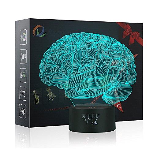 3D Lampe Optische LED Täuschung Nachtlicht,Yunplus 7 Farbwech mit Acryl Flat & ABS Base & USB-Ladegerät ändern Berühren Sie Botton Schreibtisch lampe Tischleuchte (Gehirn)