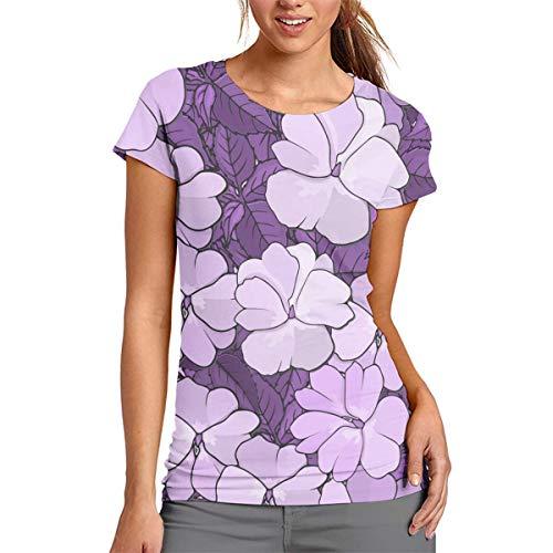 Camiseta de manga corta para mujer, color morado y lila, poliéster, Blanco, Large