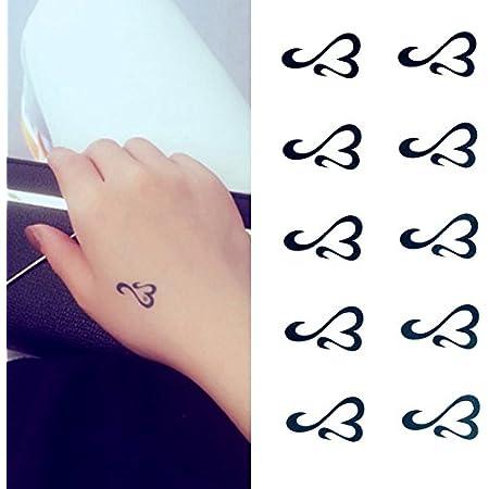 Oottati Small Cute Temporary Tattoo Heart Totem Hand (Set of 2)