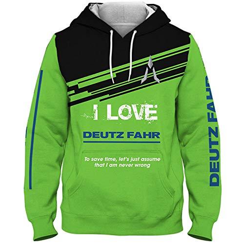 SPORTYAN Herren Hooded Jacke,Hoodie,T-Shirt Ich Liebe Deutz-Fahr 3D Drucken Leicht Sweatshirt Unisex Beiläufig Sportkleidung Y/B/L