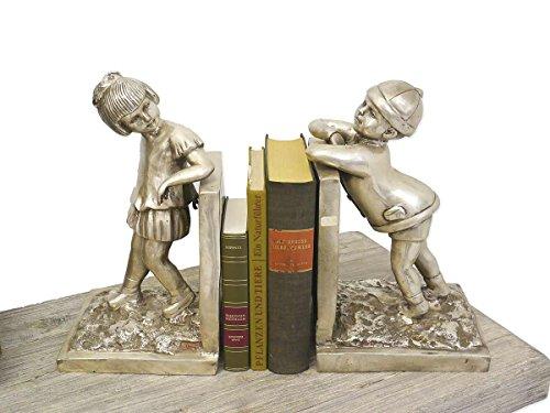 Antike Fundgrube Buchstütze Buchständer 2 Buchstützen Mädchen + Junge Bronze silberfarbig (4529)