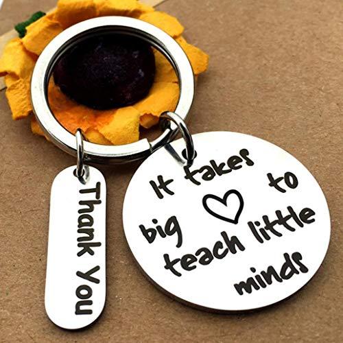 Uticon lamta1k Schlüsselanhänger, Metall, Buchstabe It Takes Big Heart to Teach, Schlüsselanhänger, Schlüsselanhänger, Geschenk, Silber
