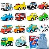 Zhishangcheng Spielzeugautos, 14 Stück Zurückziehen und los Baufahrzeug-Set, Mini-Spielfahrzeug Autospielzeug Geschenk für Kinder Jungen ab 3 Jahren ...