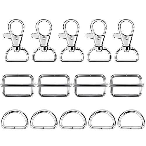 PERFETSELL 22 Karabinerhaken Karabiner Verschluss Silber Schwenkbar Schlüsselanhänger Karabiner mit 22 D-Ringe und 22 Gürtelschnalle Taschenzubehör für Rucksäcke, Handtaschen, Nähen, Gürtel, Taschen