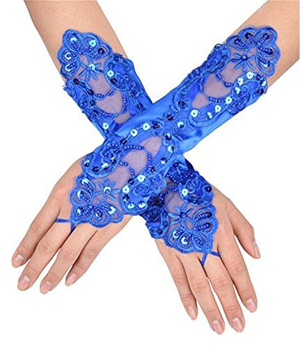 Fingerless Lace Gloves For Wedding Evening Party Satin Bridal Gloves Wedding Accessories Royal Blue