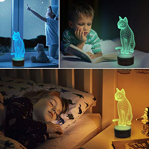 Cat 3D Bedside Light for Kids, Kitty Illusion Night Lamp Light up LED Remote Control 16 Color Changing, Bedroom Decor Best Xmas Halloween Birthday Gift for Child Toddler Girl