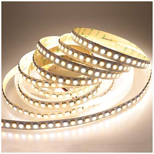 LTRGBW Super Bright 2800K de 7000K bicolor Dual de color blanco cálido sosiego frío Temperatura de color ajustable Flexible 5050 LED de tira de luz 24V 600leds de LED no impermeable Banda lámpara 16.4 ft (5 m)