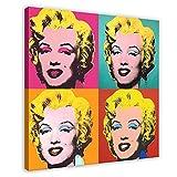 Pintura al óleo Andy Warhol Marilyn Díptico Póster de la pared de la decoración de la pared del arte de la impresión de cuadros para la decoración del dormitorio de 50 x 50 cm. Marco: 1