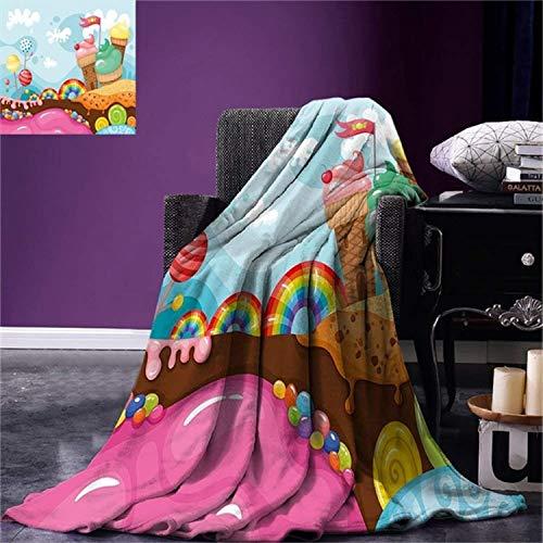 QNWLKJ Manta Decoración De Helado De Navidad Desserland con Caramelos De Arco Iris Lollipop Trees Cupcake Mountains Cartoon Soft Blanket 130X150Cm