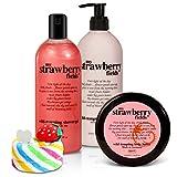 BRUBAKER Happiness'My Strawberry Fields' Body Lotion, Duschgel, Körperbutter Erdbeer und Magic...