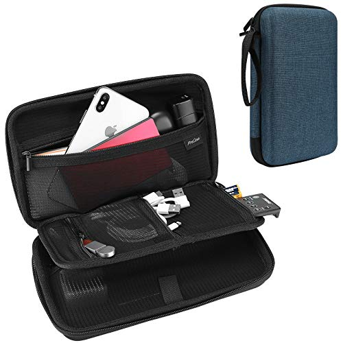 ProCase Hard Travel Tech Organizer Case Bag for Electronics Accessories Charger Cord Portable External Hard Drive USB Cables Power Bank SD Memory Cards Earphone Flash Drive –Navy