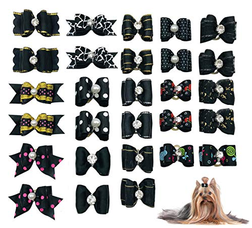 PET SHOW 10pairs Black Dog Hair Bows with Rubber Bands Puppy Hair Bows with Bling Rhinestone Bowknot Topknot Small Medium Doggies Cats Boy Girl Grooming Accessories Assorted