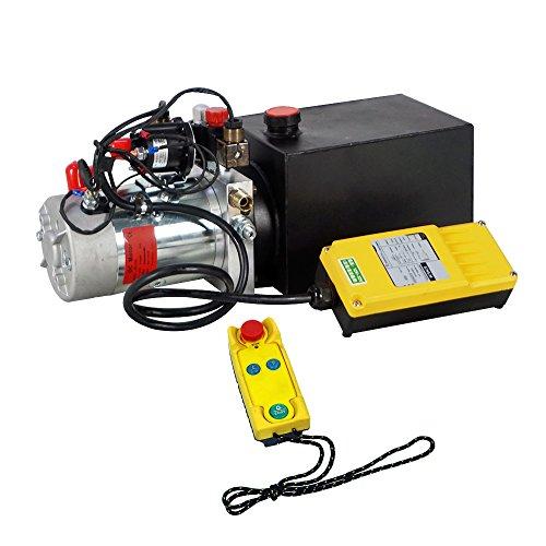 FISTERS 12V Hydraulic Pump,Wireless Control Hydraulic Power Unit, Double Acting 6 Quart Dump Trailer Pump for Car Lifting