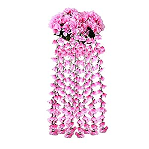 MAICC Hanging Flowers Artificial Violet Flower Wall Wisteria Basket Hanging Garland