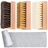 3 Pieces Dual Sided Sneaker Shoe Cleaner Brush Set Boar and Plastic Bristles, Wood Color, ...