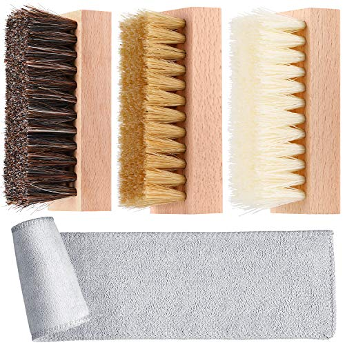 3 Pieces Dual Sided Sneaker Shoe Cleaner Brush Set Boar and Plastic Bristles, Wood Color, 6.7 x 4.7 x 1.37 inches