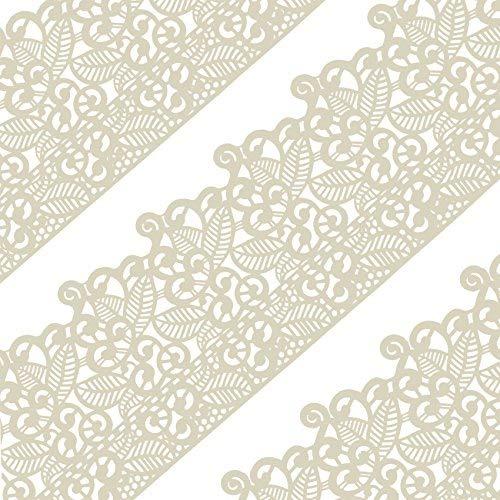 musykrafties Groß Vorgefertigt Gebrauchsfertig Essbarer Kuchen Spitze Blatt Blättern 14-inch 20-Piece Set - Elfenbein Weiß