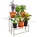 D&V ENGINEERING - Creative in innovation Metal 2 Tier Step Type Plant Stand/Pot Stand for Living Room/Garden/Balcony Decor, 26 inches Height-White