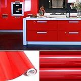 KINLO 5M Papier Peint Adhésif Rouleaux Reconditionné pour Armoires de Cuisine en PVC Self Adhesive Autocollant Meubles Porte Mur Placards Stickers Mural - Rouge