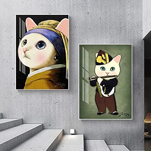 Abstracto broma famosa pintura moderna flauta lienzo arte gran pared arte imagen para sala de estar perla pendientes cartel impresión - 60x80cmx2 sin marco