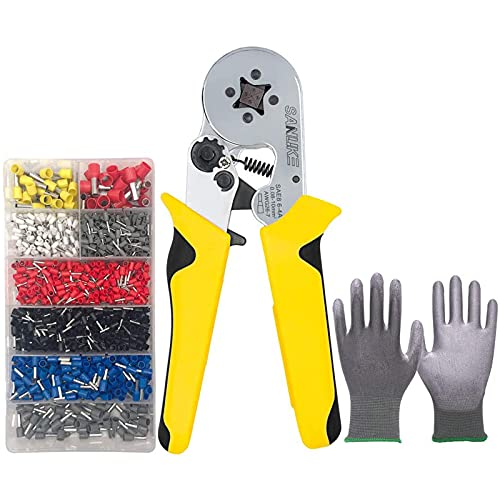 Ferrule Crimping Tool Kit, Sanuke AWG 26-7 Self-adjustable Ratchet Wire Crimping Tool Kit Crimper Plier Set with 1200PCS Wire Terminals Crimping Connectors Wire End Ferrules