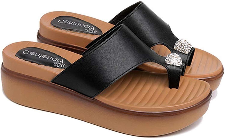 Flip flops Seali Infradito, Pantofole Aumentate Piattaforma da Donna Summer moda Wearing Wild sautope (Coloree   nero, Dimensione   39)