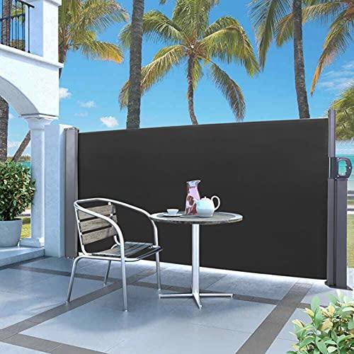 Demeras Toldo de pared lateral de jardín extensible Cortina lateral Multifuncional Canopy lateral Hierro galvanizado para el jardín (negro, blanco)