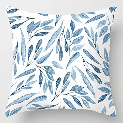 PPMP Funda de cojín de ágata de mármol Intermitente, Funda de cojín Decorativa para sofá con Flores geométricas Azules, Funda de cojín A14 45x45cm, 1pc