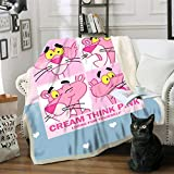 AJ WALLPAPER 3D Pink Naughty Panther 1289 Warm Plush Fleece Blanket Picnic Sofa Couch Quilt Bed US Sinsin (CustomSizeMessageUs)