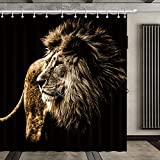 Polyester Fabric Waterproof Forest King Wildlife African Animal Lion Shower Curtain Set with 12 Hooks Watercolor Decorative Bath Curtain Modern Bathroom Accessories, Machine Washable (72' X 72')